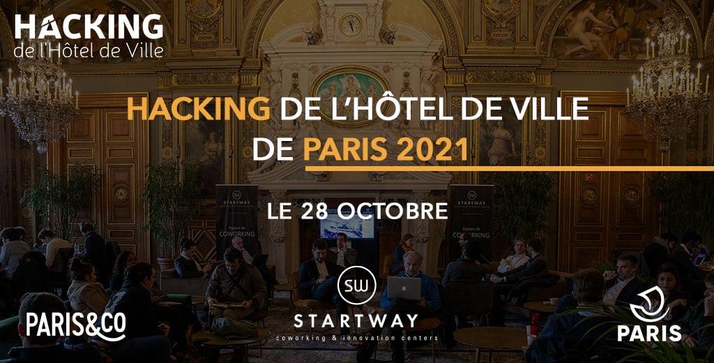 Startway partenaire du hacking de la ville de Paris 2021. Une présence avec son écosystème pour présenter ses services d'accompagnement pour Startups et grands Groupes